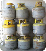 Damaged unsafe refrigerant reclaim cylinders